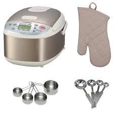 zojirushi ns lac05 micom rice cooker warmer w oven mitt measuring cup bundle com
