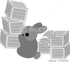 可愛いウサギと大量の荷物のイラスト素材 25192950 Pixta