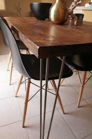 organic modern rustic dining table with hairpin by metalmeetswood just the table not the chairs 425 00