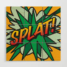 comic book splat wood wall art