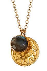argento vivo18k gold plated sterling silver sand dollar labradorite charm necklace