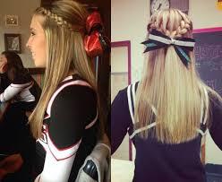braided half updo cheer hairstyles