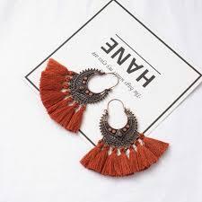 Bohemian Ethnic Colorful <b>Triangle</b> Long <b>tassel</b> earrings for women ...