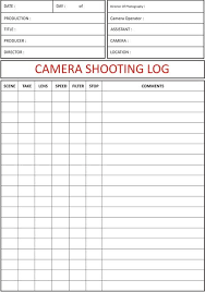 Video Log Template Camera Shooting Log Camera Shooting Log Sheet In 2019 Film
