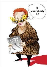 caricature red haired woman work colleague union organiser