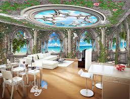 3D Arch Window Ocean View Sky Ceiling Wall Murals Wallpaper Art Print Decor  IDCQW-000360