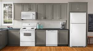 ... Grey and White Wooden Kitchen Furniture and Refrigerator with Modern  Gray Kitchen Cabinets and Ceramic Backsplash ...
