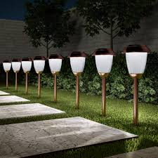Long Lasting Solar Path Lights Solar Path Lights Set Of 8 16 Tall Stainless Steel