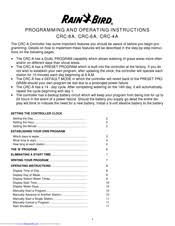 Rain Bird E 6c Programming Chart Rain Bird Crc 8a Programming And Operating Instructions Pdf