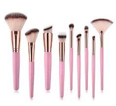 9 piece pink rose gold kabuki professional makeup brush set jax olivia