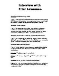 interview friar lawrence gcse english marked by teachers com page 1 zoom in