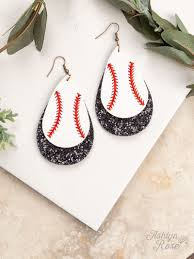 all jewelry earrings home team leather baseball drop earrings white and black