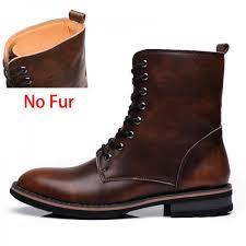 men motorcycle boots vintage combat boot winter fur new cow split leather waterproof buckle military boots men shoes