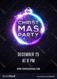 Poster Design Party Christmas Party Poster Design Neon Light Effect