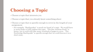 choosing a topic for an essay co choosing