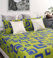 Buy Green Cotton Printed Double Bed Sheet with 2 Pillow Covers Set
