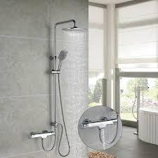 Duschsystem Mit Thermostat Trennbar 3 Funktionen Duschset Brausethermostat Duscharmatur Regendusche überkopfbrause Handbrause Duschsäule Für Bad