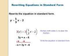 rewriting equations in standard form