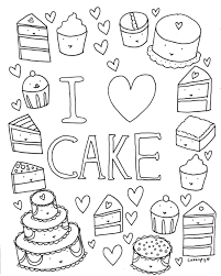 Small Picture Free Coloring Book Page I Love Cake CakeSpy