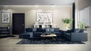 living roomdeep blue sofa with wooden coffe table and black rugs also large wall blue dark trendy living room