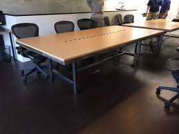 pasadena ca conference table with steel and maple formica top and 6 power strip size 4
