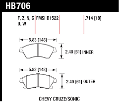 Hawk Front Street Brake Pads For 2011 2016 Limited Chevy Cruze