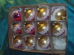 11 Alte Christbaumkugeln Glas Gold Pink Borte Silber Glitzer