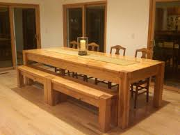 rustic kitchen table with bench. Homemade Oversized Kitchen Table With Long Bench And Four Wood Chairs Wooden Tables Small Designs Building Rustic Dining Room Diy Farm Easy Harvest Built In