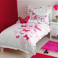 hot pink red and white beautiful erfly pattern cute girly pastel style 100 organic cotton twin full size ruched bedding sets