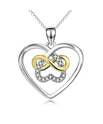 sterling platinum polished infinity necklace