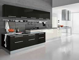 fabulous black white kitchen color with modern kitchen cabinets in sleek design completed with sink and