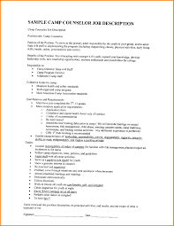 Camp Counselor Description Resume Camp Counselor Resume 24 Summer Camp Counselor Resume 1