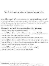 Objective In Internship Resume Best of Accounting Internship Resume Samples Eukutak