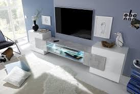 Meuble Tv Design Blanc Laqu Gris B Ton Richie Meubles Tv Hifi Meuble Tv Design