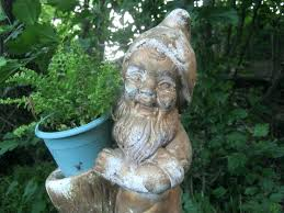 angel garden statues. Concrete Angel Garden Statues Very Cool Old Gnome With Planter Vintage Cement Statue