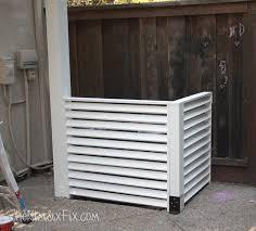 air conditioning unit cover. diy outdoor ac screen made of louvers (via www.thekimsixfix.com) air conditioning unit cover