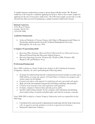 insurance underwriter resume - Mortgage Underwriting Resume