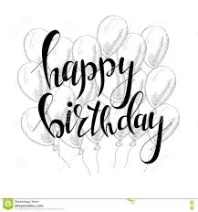 Black And White Greeting Card Vector Hand Lettering Happy Birthday Greeting Card With Calligraphy