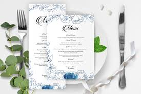 Menu Card Template Wedding Menu Card Template