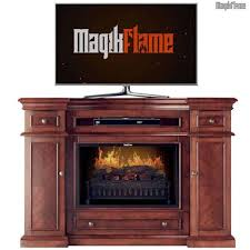 hermes cherry wood media center electric fireplace wall mantel tv stand w realistic fireplace insert
