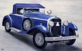 vintage car painting blue vintage car by ronald haber