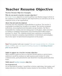 Sample Resume Objectives For Students Objective For Teaching Resume Wikirian Com