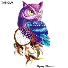 Purple Dream Catcher Tattoo 100piece Temporary Tattoo Color Owl dream catcher tattoos Stickers 39