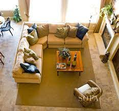how to place a rug under a sectional