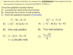 given the quadratic equation below a compute the value of the discriminant