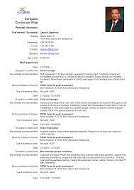Europass Curriculum Vitae Europass Cv Format Doc Cover Letter