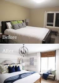 use large gray horizontal stripes to visually elongate the wall this is a clever idea for making a bedroom look larger
