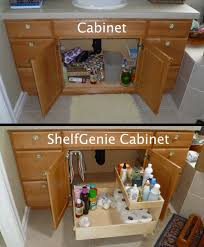 the recipe for turning this cabinet into a shelfgenie cabinet add one pull out towel under bathroom sink