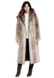 timber wolf full length hooded faux fur coat 1