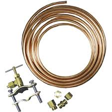 refrigerator water line kit. ice maker repair tap valve and copper tubing refrigerator water line kit